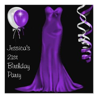 Black  White Purple Formal Dress 21st Birthday Card