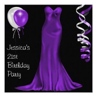 Black White Purple Formal Dress 21st Birthday Personalized Invitations