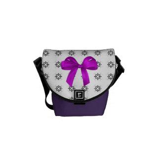 Black, White & Purple Mini Messenger Bag