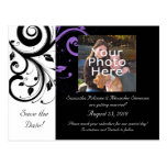 Black White Purple Swirl Accent Save the Date Card