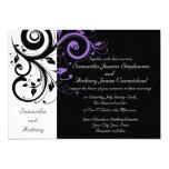 Black White Purple Swirl Wedding Invitations 13 Cm X 18 Cm Invitation Card