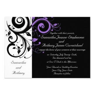 "Black White Purple Swirl Wedding Invitations 5"" X 7"" Invitation Card"