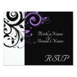 Black +White Purple Swirl Wedding Matching RSVP 11 Cm X 14 Cm Invitation Card