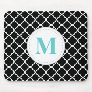 Black & White Quatrefoil Custom Monogram Mouse Mat