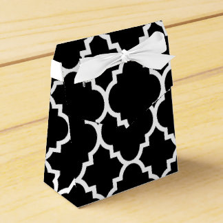 Black White Quatrefoil Moroccan Pattern Favour Box