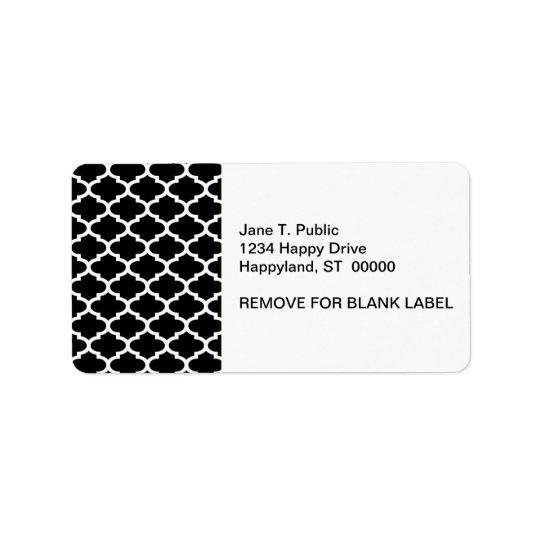 Black White Quatrefoil Pattern #2 Address Label