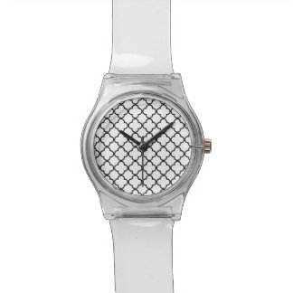 Black White Quatrefoil Pattern Watch