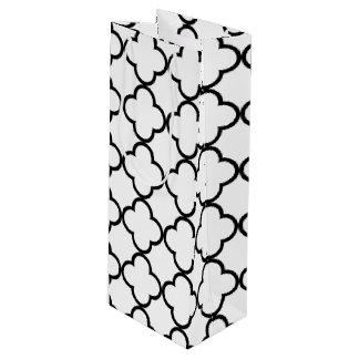 Black White Quatrefoil Pattern Wine Gift Bag
