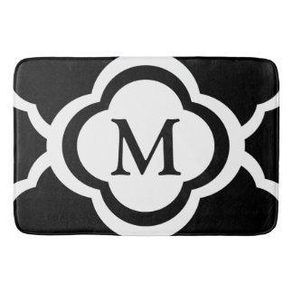 Black & White Quatrefoil Personalizable Monogram Bath Mats
