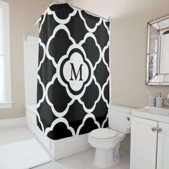 Black & White Quatrefoil Personalizable Monogram Shower
