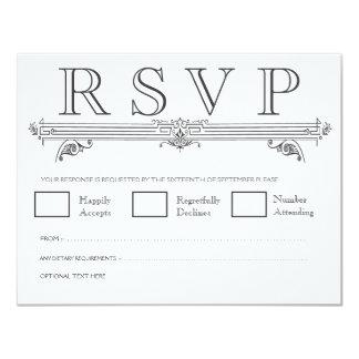 Black & White Quatrefoil Wedding RSVP Cards 11 Cm X 14 Cm Invitation Card