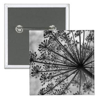 Black & White Queen Anne's Lace 15 Cm Square Badge