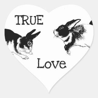 Black & White Rabbits, TRUE LOVE Heart Sticker