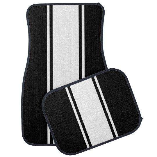 Black & White Racer Stripe Car Mats