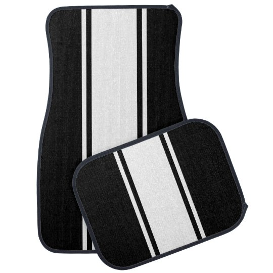 Black & White Racer Stripe Car Mats Car Mat