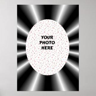 Black White Rays Frame Photo Template Poster