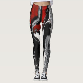 """Black, White & Red Abstract Leggings - """"Be Bold"""""""