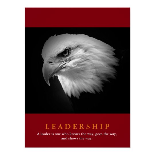 Black White Red American Eagle Leadership Poster