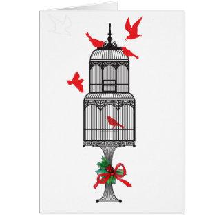 Black White Red Birds Christmas Card