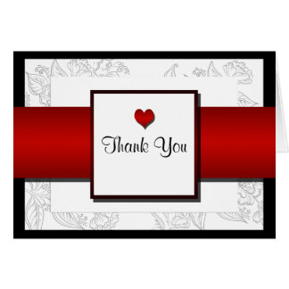Black White Red Bohemian Posh Wedding Thank You Card