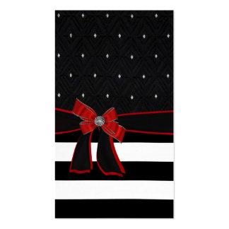Black White Red Bow Rhinestone Business Card