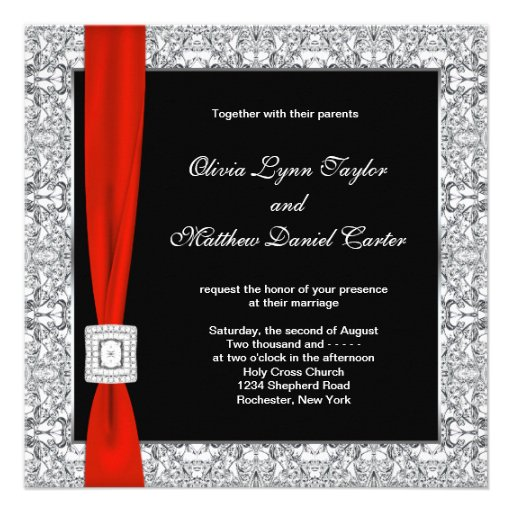 Black White Red Bow Wedding Announcement
