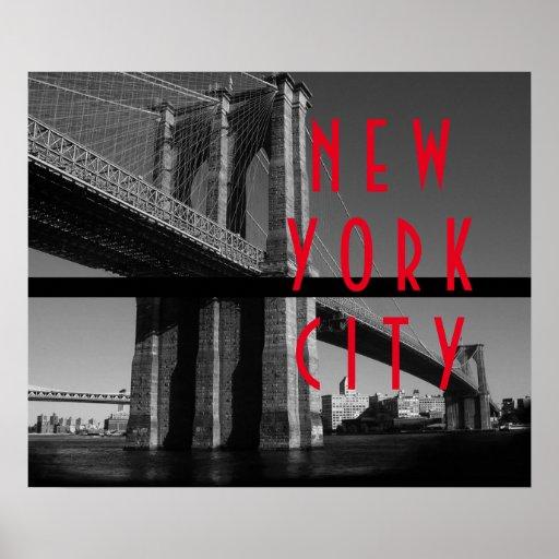 Black White Red Brooklyn Bridge New York City