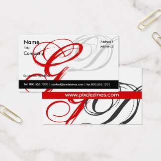 Black white red business card Monogram A to Z