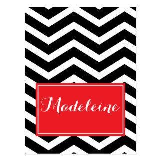 Black white red chevron custom name postcard