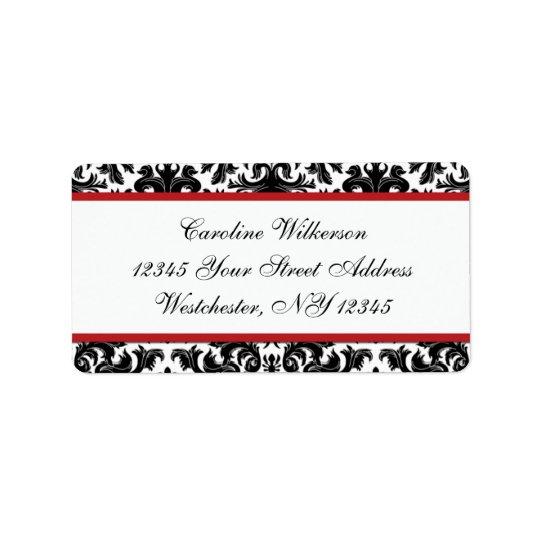 Black White Red Damask Return Address Label
