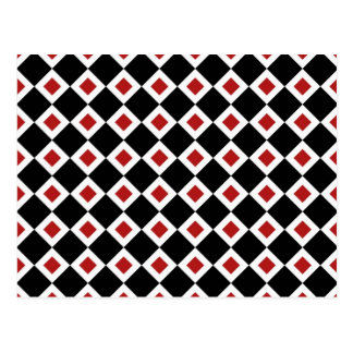 Black, White, Red Diamond Pattern Postcard