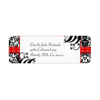 Black, White, & Red Floral Damask