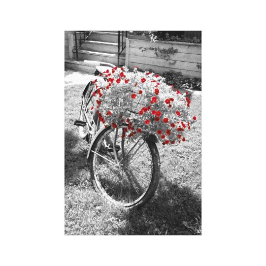 Black White Red Flowers Vintage Bicycle Summer Canvas