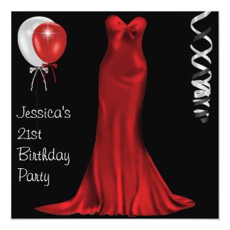 Black White Red Formal Dress 21st Birthday 13 Cm X 13 Cm Square Invitation Card