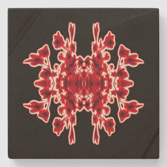 Black White Red Graphic Abstract Pattern Stone Coaster