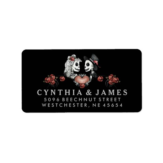 Black White & Red Halloween Skeletons Wedding Address Label