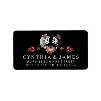 Black White & Red Halloween Skeletons Wedding Label