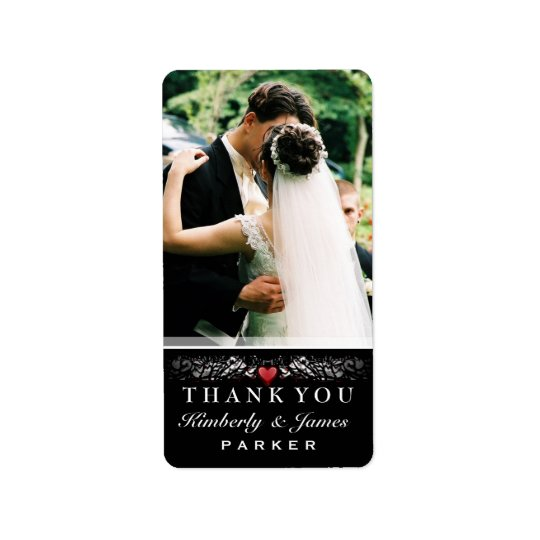 Black & White Red Heart Wedding Thank You Photo Address Label