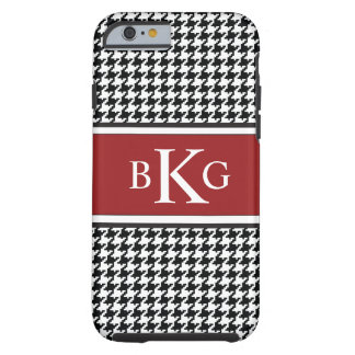 Black White Red Houndstooth Pattern Monogram Tough iPhone 6 Case