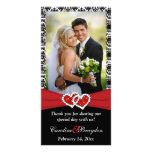 Black White Red Joined Hearts Wedding Photocard Photo Card Template