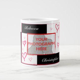 Black white red modern love heart photo frame jumbo mug