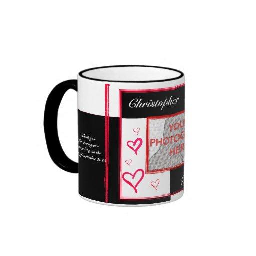 Black white red modern love heart photo frame coffee mugs