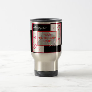 Black white red modern love heart photo frame coffee mug