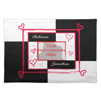 Black white red modern love heart photo frame place mat