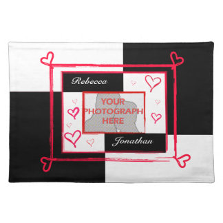 Black white red modern love heart photo frame placemat