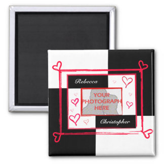Black white red modern love heart photo frame square magnet