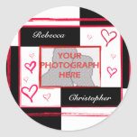 Black white red modern love heart photo frame round sticker