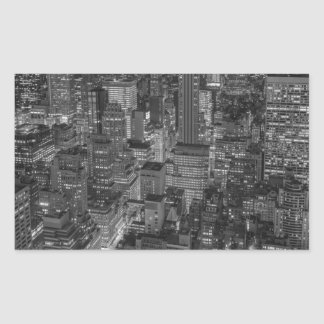 Black White Red New York City Skyline Rectangular Sticker