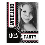 Black White Red Polka Dot Girl's Party Photo Custom Announcement
