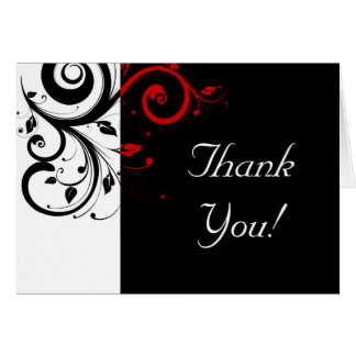 Black + White Red Reverse Swirl Thank You Cards